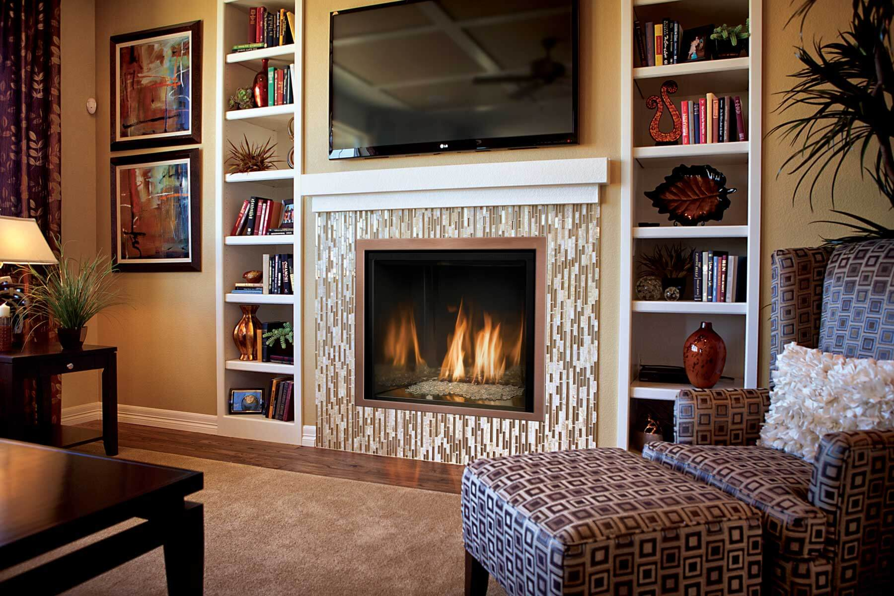 White Natural Gas Fireplace